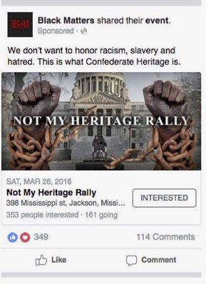 Russian Facebook Ad - Not My Heritage Rally Ad