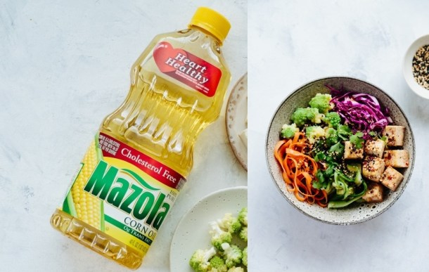 collage of Mazola corn oil bottle and noodle bowl