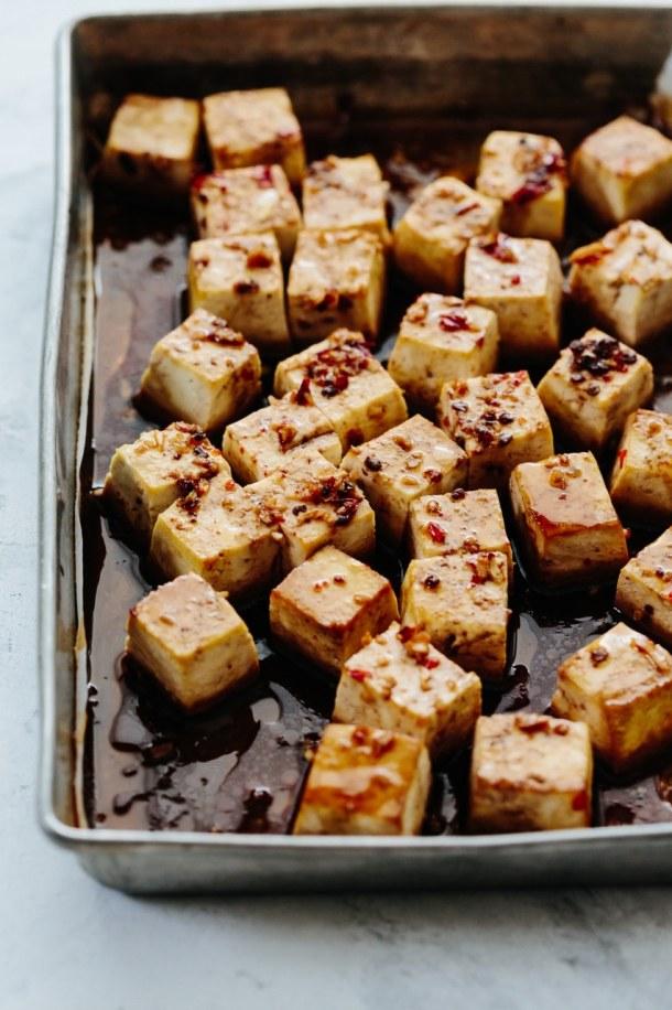 tray of baked tofu