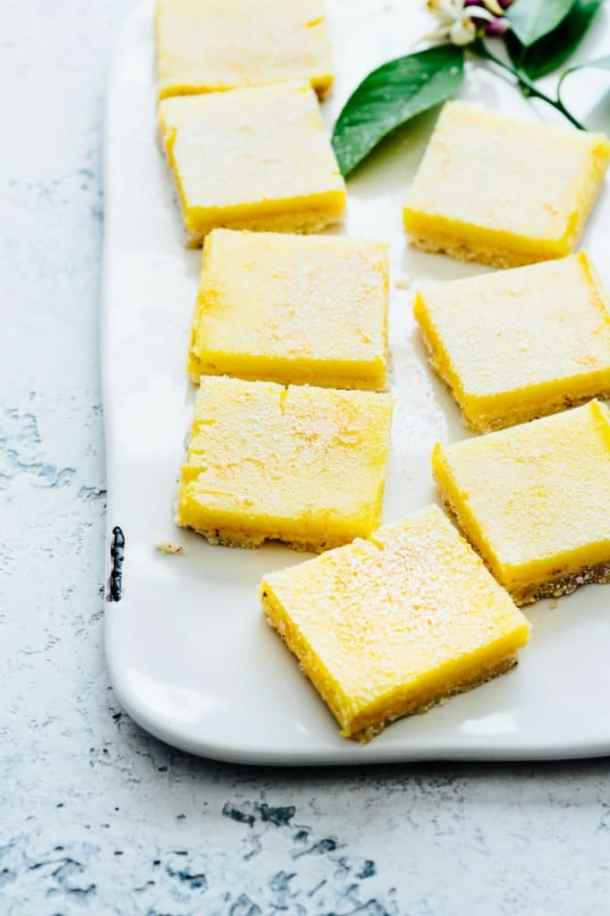 Plate of Meyer lemon bars