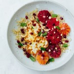 plate of blood orange halloumi quinoa salad