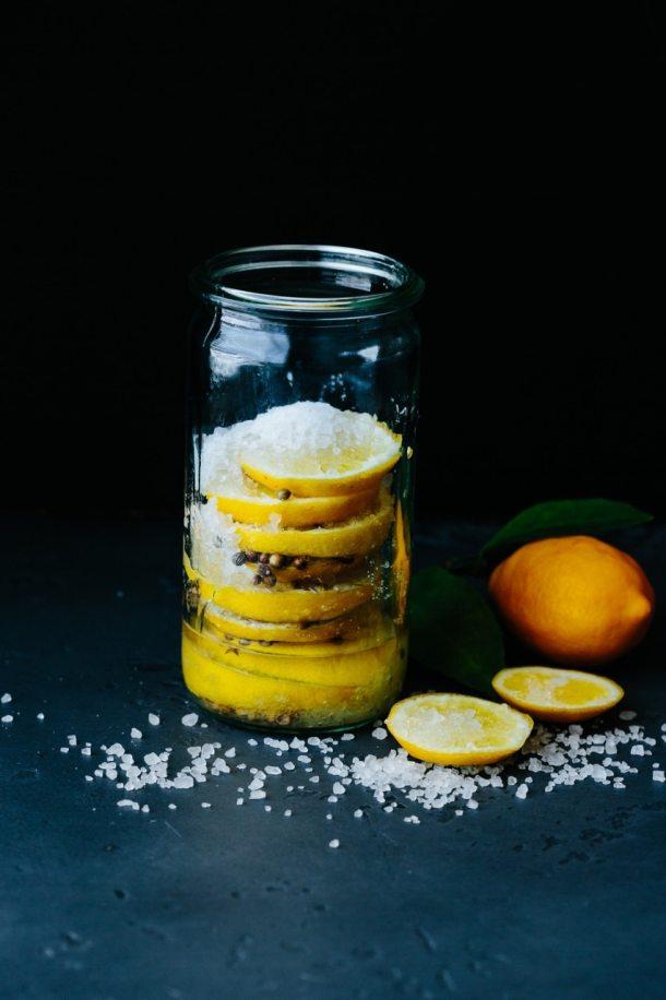 a jar of preserved Meyer lemons