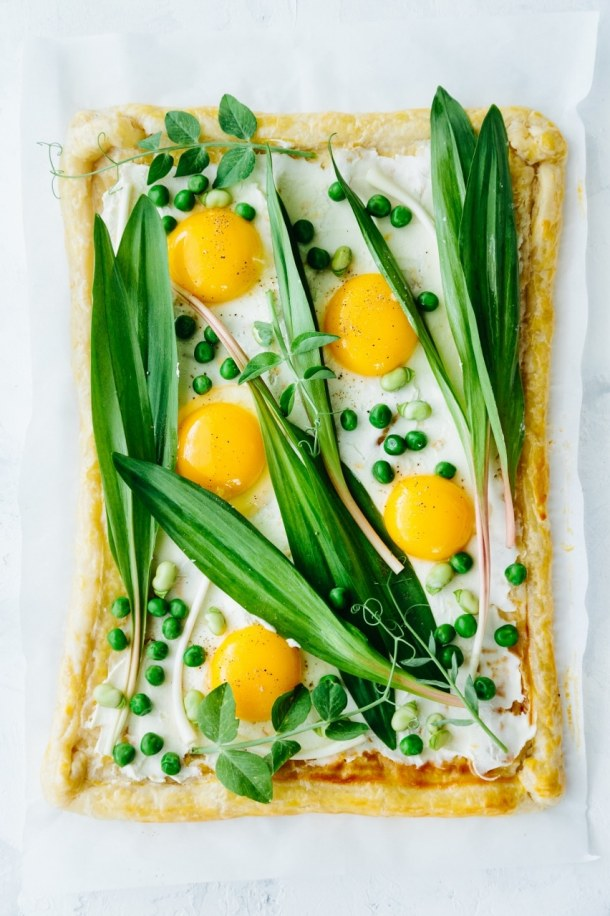 unbaked ramp fava bean pea and egg spring tart