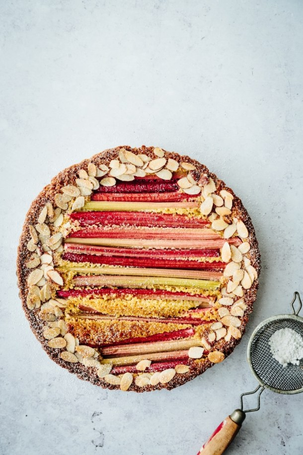 rhubarb polenta cake with sifter