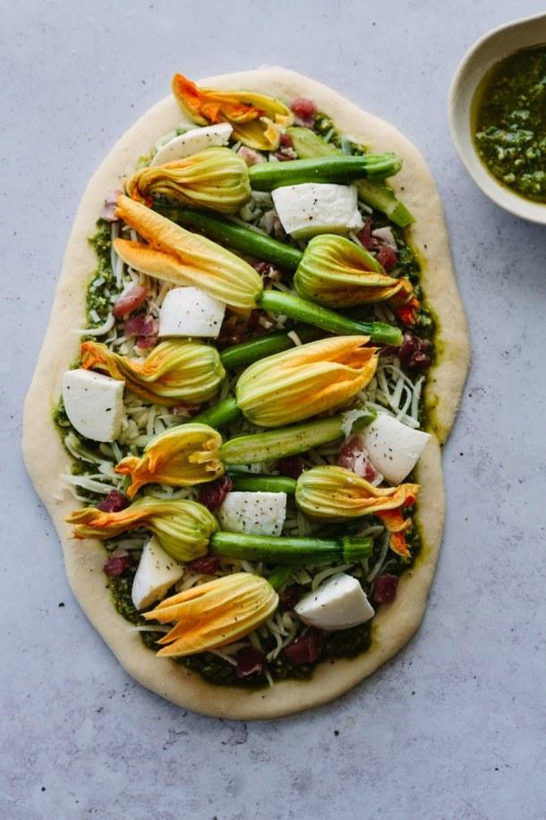 zucchini blossom pistachio pesto pizza