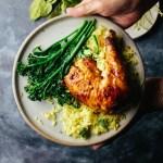 Roast lemongrass chicken with turmeric coconut rice
