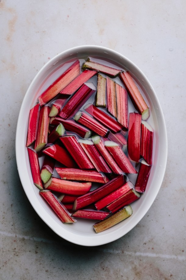 bowl of rhubarb batons