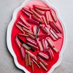 plate of vanilla poached rhubarb