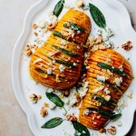 Honey roasted hasselback butternut squash with gorgonzola and sage