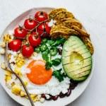 Grilled corn and black bean brunch bowl