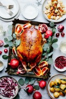roasted pomegranate molasses duck in pan