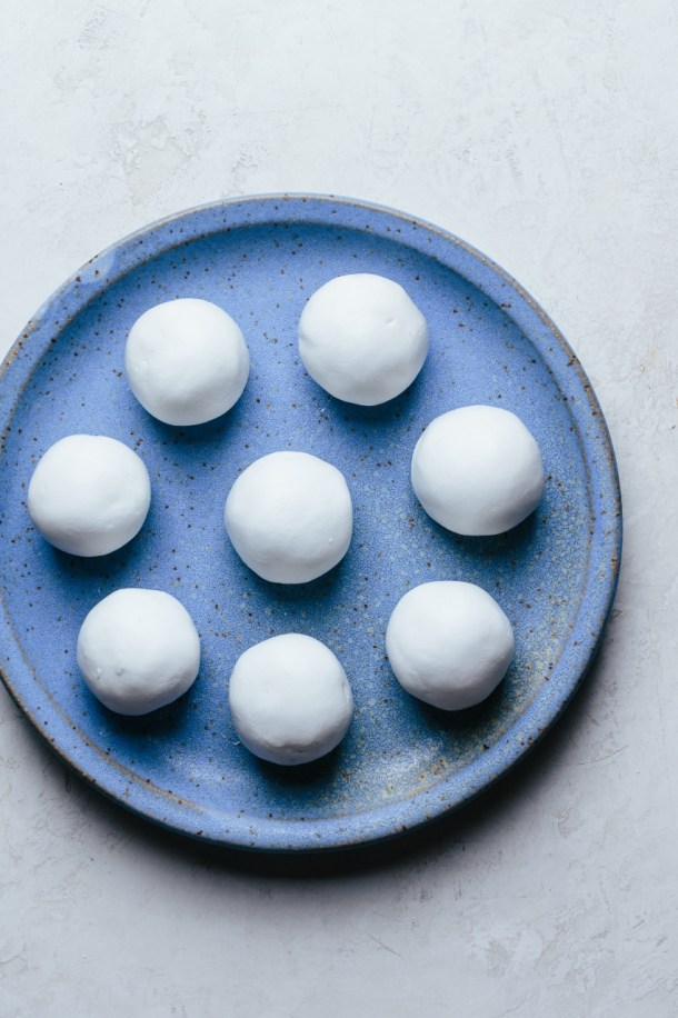 plate with glutinous rice balls