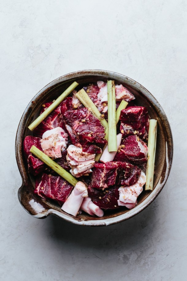 a bowl of marinated beef shank and tendons