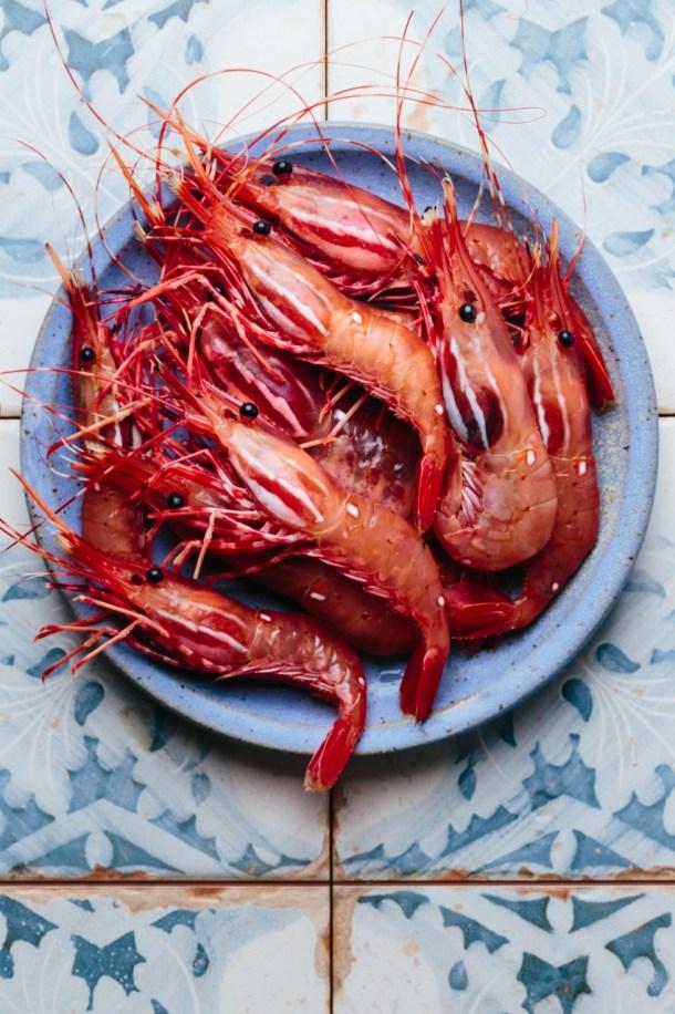 a plate of fresh spot prawns