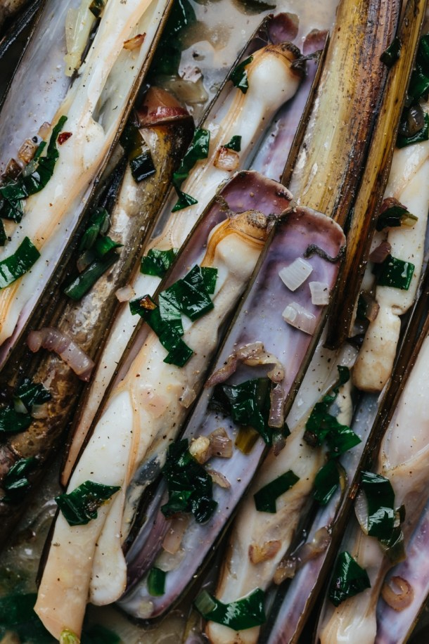 close up of steamed razor clams with ramps and white wine