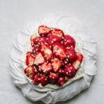 strawberry elderflower pavlova