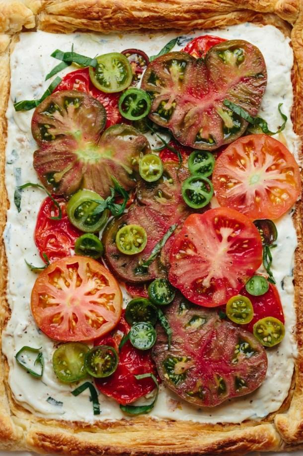 close up of tomato tart