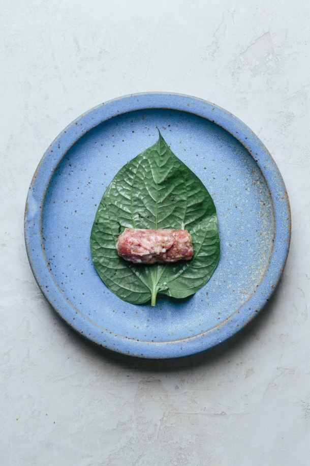 plate containing betel leaf with filling