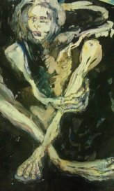 """""""Skin and Bones""""A painting I did of Sid when he was so sick. Ink and watercolor on paper. NFS"""