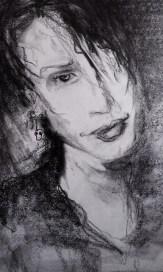 Self portrait 16. Charcoal on paper.