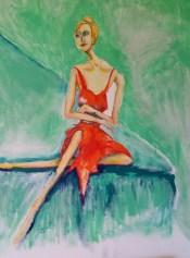 """Jennifer, Orange Dress. 16 x 20"""". Oil on canvas board."""