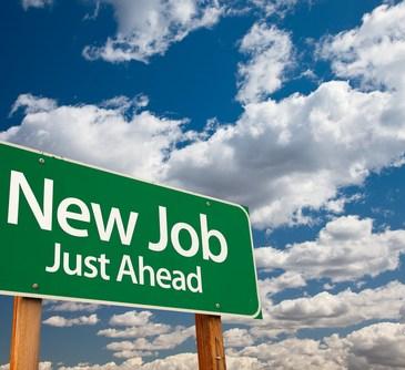 new job ahead roadsign