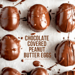 Overhead image of chocolate covered peanut butter eggs on a baking sheet | © Beyond the Butter, LLC