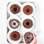 Overhead image of 6 Mini Bundt Chocolate Pound Cakes on a baking sheet| All Images © Beyond the Butter, LLC