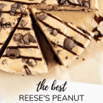 Close up overhead image of sliced Reese's Peanut Butter Cup Cheesecake drizzled with chocolate | All Images © Beyond the Butter, LLC