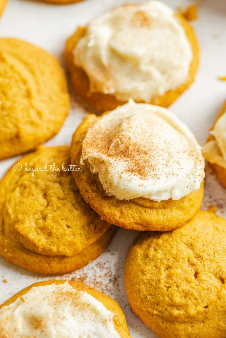 Plain and cream cheese frosted pumpkin cinnamon cookies dusted with cinnamon sugar and pumpkin pie spice on a white background | All Images © Beyond the Butter™