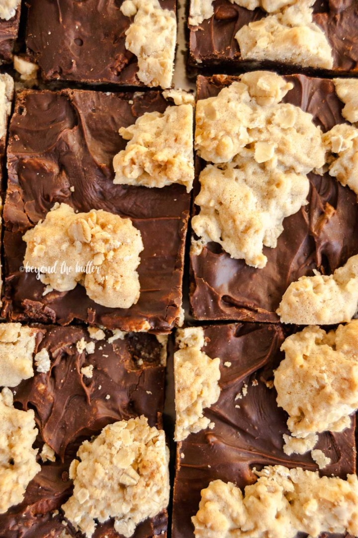 Closeup overhead image of cut fudge nut bars on a baking tray   All Images © Beyond the Butter™