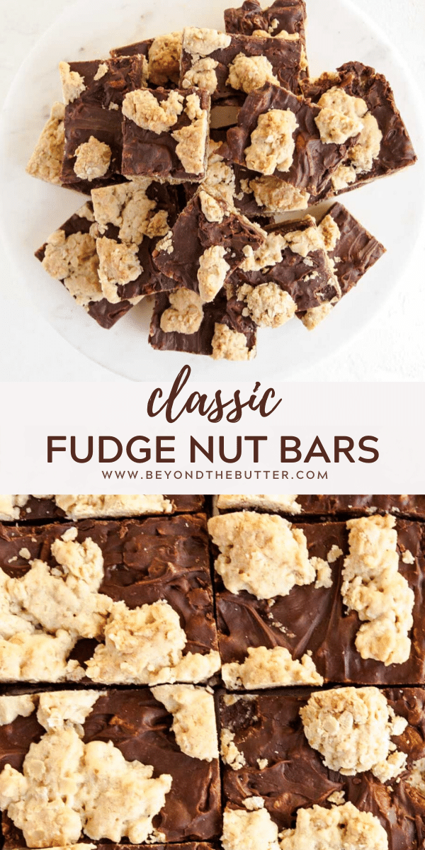 Pinterest images of Classic Fudge Nut Bars recipe | All Images © Beyond the Butter™