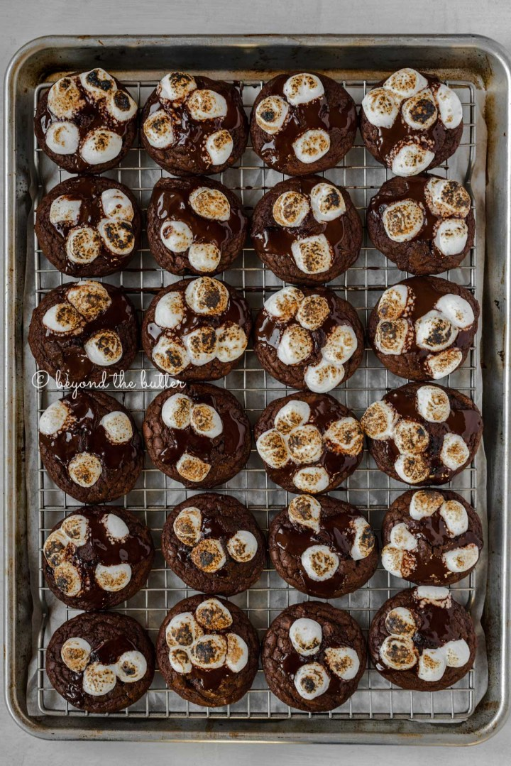 Overhead image of hot chocolate mini marshmallow cookies on a cooling rack lined baking sheet | All Images © Beyond the Butter™