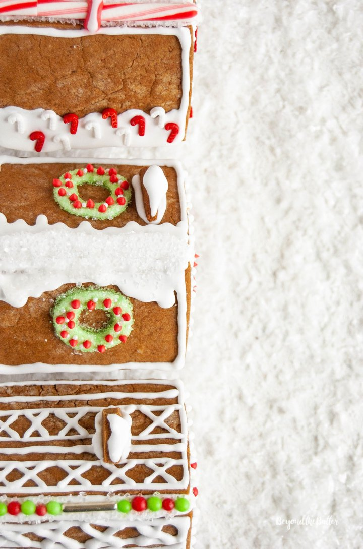 Homemade Gingerbread Houses - Overlooking the rooftops of 3 gingerbread houses