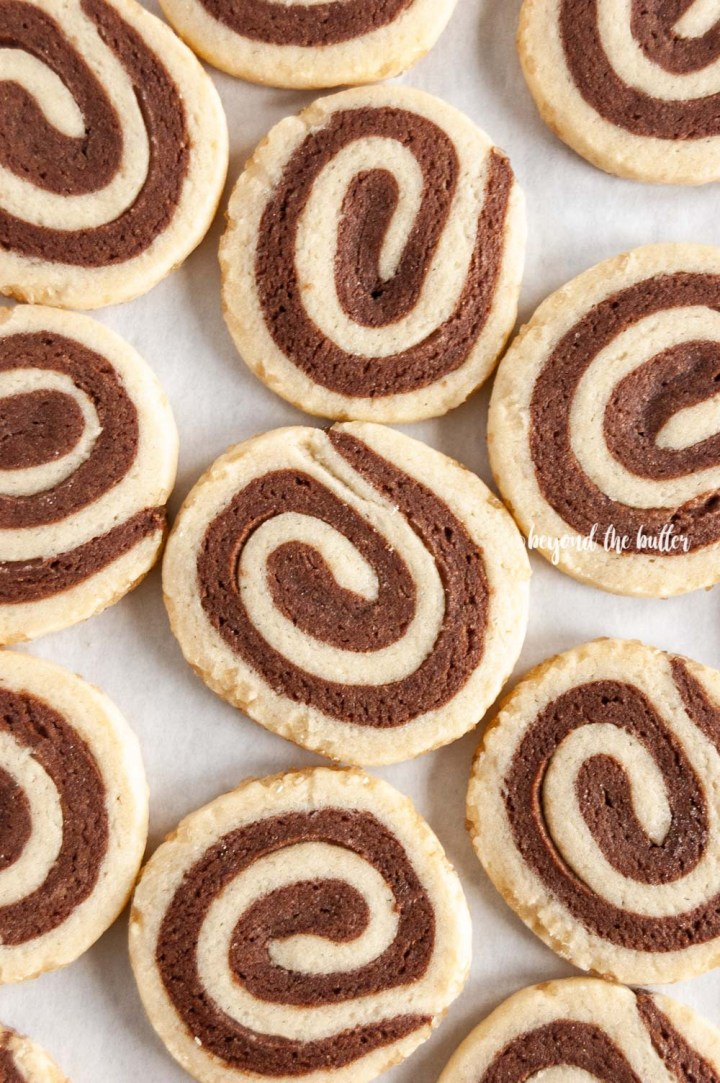 Close up image of Chocolate Pinwheel Cookies | All images © Beyond the Butter™