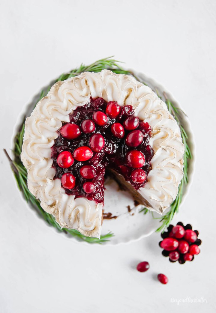 Gingerbread Cake | Overhead photo of Gingerbread Cake with Maple Buttercream Frosting and Cranberry Compote | Image Credit: Beyond the Butter, LLC