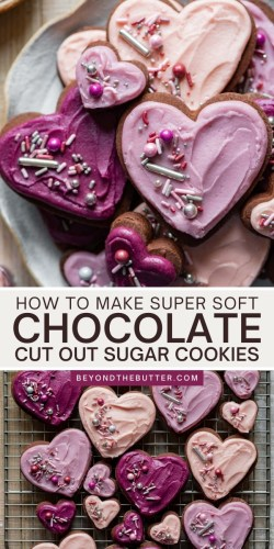 Pinterest images of chocolate cut out sugar cookies from Beyond the Butter® | All Images © Beyond the Butter®