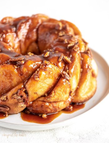5 Ingredient Butterscotch Bundt Rolls | Angled photo of butterscotch bundt rolls or monkey bread | Image and Copyright Policy: © Beyond the Butter, LLC