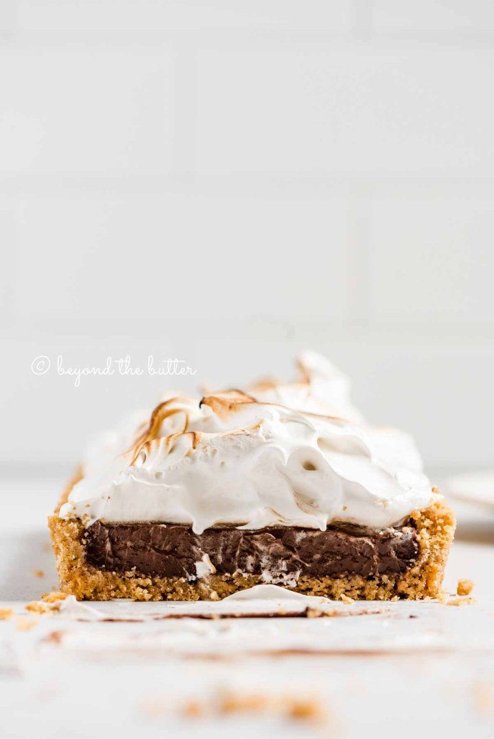 Profile view of sliced Chocolate Marshmallow Tart | All Images © Beyond the Butter™