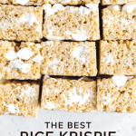 Pinterest image of the best rice krispie treats stacked and on their side | All Images © Beyond the Butter™