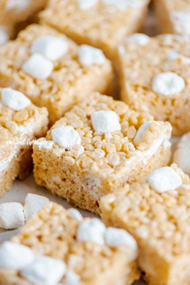 Closeup angled image of the best rice krispie treats | All Images © Beyond the Butter™