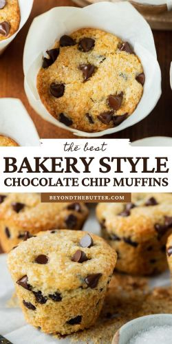 Images of bakery style chocolate chip muffins from BeyondtheButter.com   © Beyond the Butter®