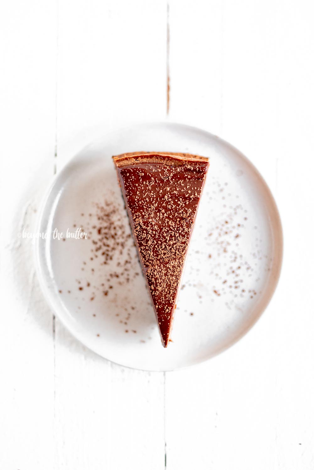Single slice of Triple Chocolate Mocha Cheesecake dusted with cocoa | All Images © Beyond the Butter, LLC