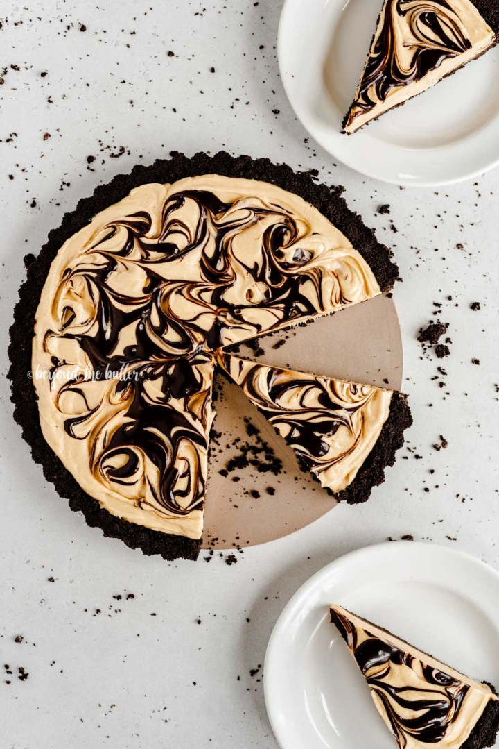Overhead image of sliced chocolate peanut butter swirl tart   All Images © Beyond the Butter™