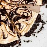Overhead image of sliced chocolate peanut butter swirl tart | All Images © Beyond the Butter™