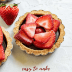 Pinterest image of close up mini strawberry nutella tarts | All Images © Beyond the Butter™