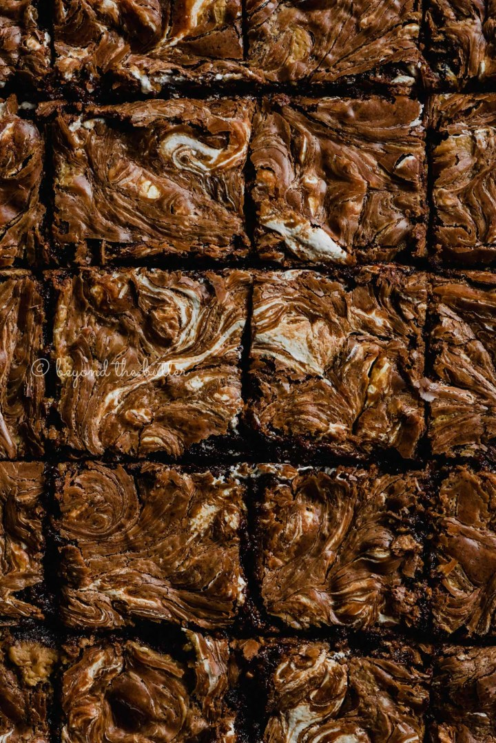 Closeup of cut marshmallow peanut butter brownies | All Images © Beyond the Butter™