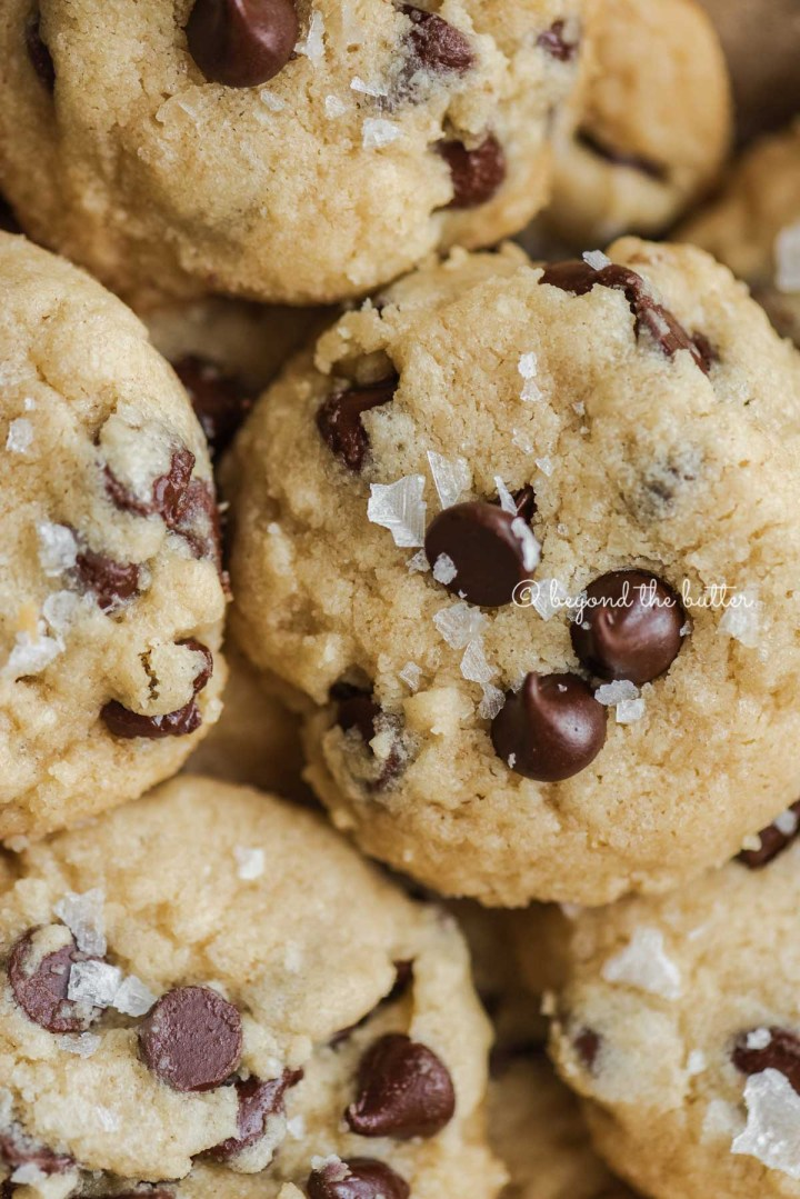 Close up of chocolate chip shortbread cookies | All Images © Beyond the Butter®