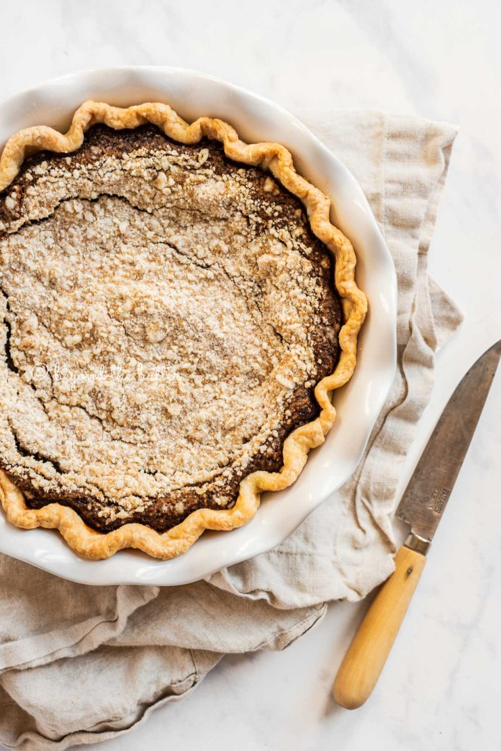 Off center overhead image of pennsylvania dutch shoo fly pie | All Images © Beyond the Butter™