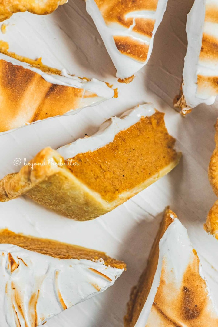 Slices of brown sugar sweet potato pie with center slice on its side | All Images © Beyond the Butter®